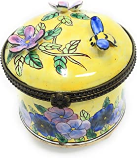 Kelvin Chen Floral Enameled Postage Stamp Holder 3D Flowers with Bee, 2.25 Inches Diameter