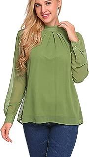 SoTeer Long Sleeve Chiffon Blouse Women's Loose Casual Cuffed Sleeve Layered Tops