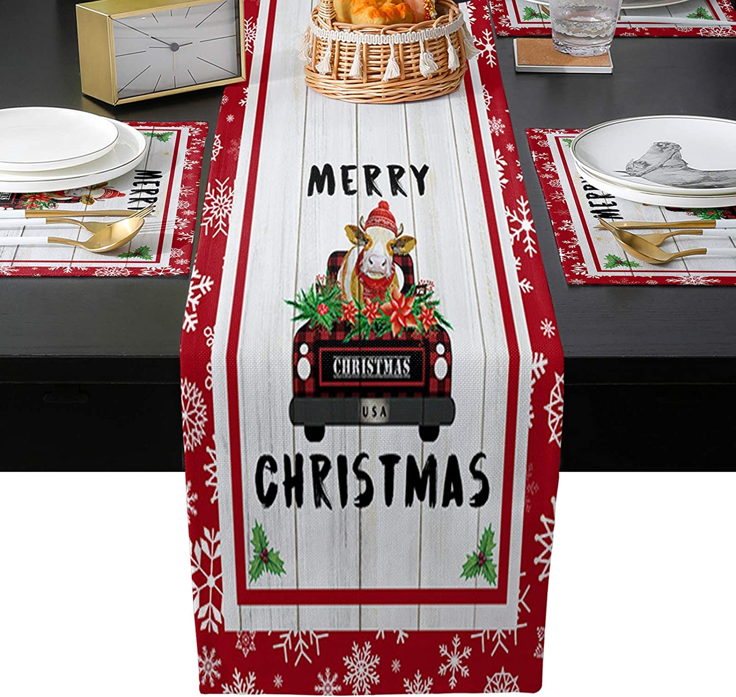 High quality new WARM TOUR Winter Christmas Snowflake Table Set Runner Ranking TOP1 4pcs with
