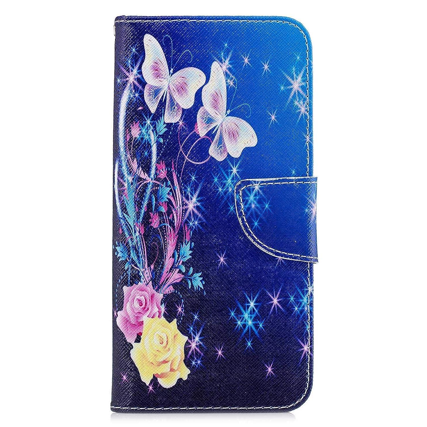 電池引き渡すファンブルOMATENTI Huawei Honor 8C ケース, ファッション人気 PUレザー 手帳 軽量 電話ケース 耐衝撃性 落下防止 薄型 スマホケースザー 付きスタンド機能, マグネット開閉式 そしてカード収納 Huawei Honor 8C 用 Case Cover, バタフライ-2