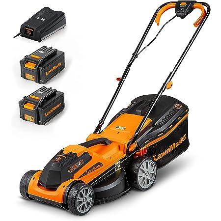 LawnMaster Cortacésped con Batería de 24 V, 4,0 Ah, 2 baterías, 1 Cargador rapido, Ancho 300 m² de Corte 34 cm, 5 Niveles de 20 - 70 mm de Altura de corte----CLMF2434G.