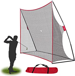 Smartxchoices Portable 10x7ft Large Golf Netting Golf Practice Hitting Net with Stand Frame & Carry Bag for Golf Driving P...