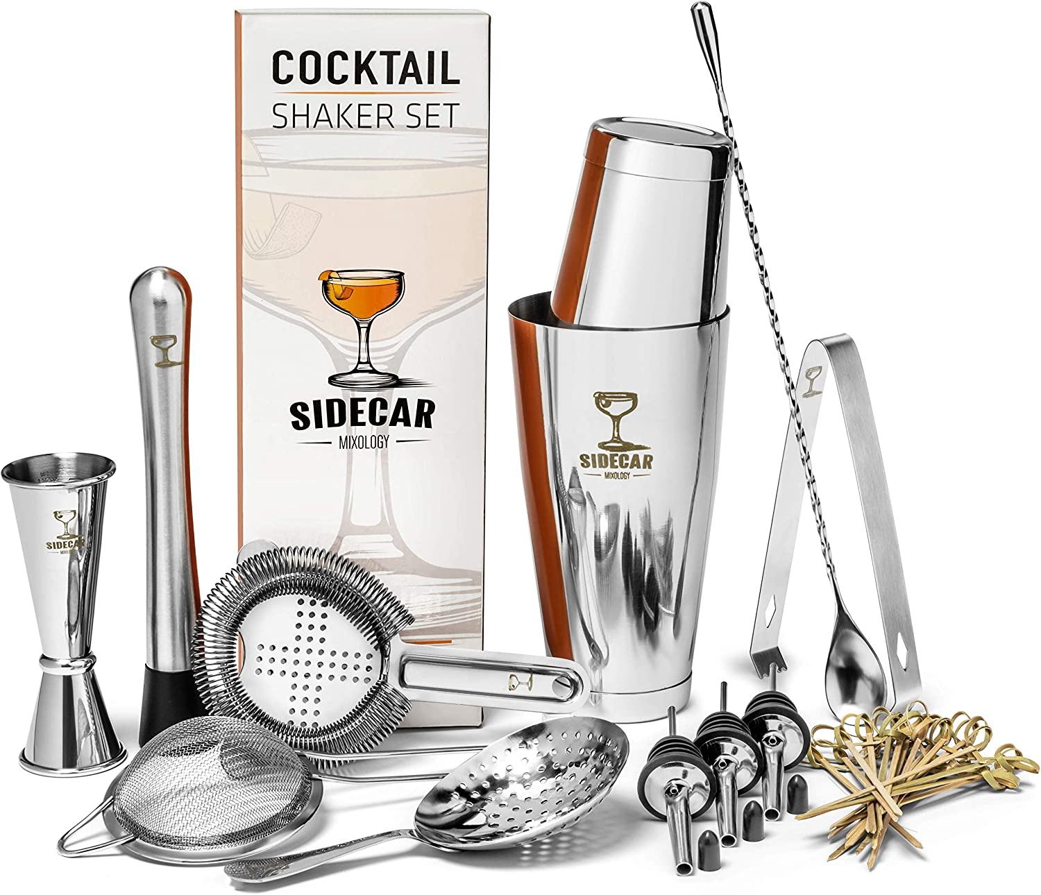 Cocktail Shaker Set by Sidecar Mixology  16 Piece Stainless Steel Mixology Bartending Kit for the Home Bar - Make Craft Cocktails by Hand with Premium Tools - Weighted Boston Shakers and Bamboo Picks