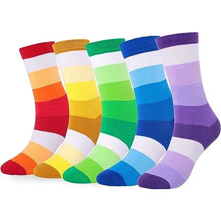 FULIER Mens Cotton Rich Novelty Funky Colorful Smart Design Dress Calf Socks 5 Pack