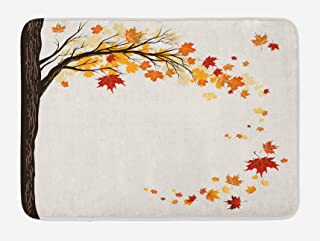 Ambesonne Fall Bath Mat, Leaf Group Motion in Mother Earth Transition from Summer to Winter Season Theme, Plush Bathroom Decor Mat with Non Slip Backing, 29.5