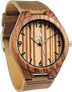 Treehut Mens Zebrawood Wood Watch with Genuine Brown Leather Strap Quartz Ana.