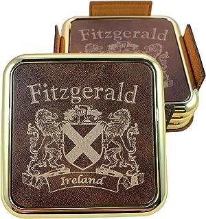 Fitzgerald Irish Coat of Arms Rustic Brown Coasters - Set of 4