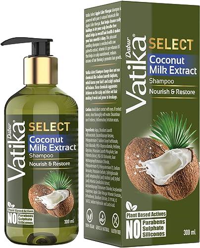 DABUR Vatika Select Coconut Milk Extract Shampoo Nourish Restore No Parabens Sulphate Silicones 300 ml