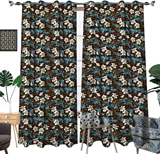 hobeauty home Window Darkening Curtains,Brown and Blue,Daffodils Cornflowers Pattern Nature Inspired Floral Bouquet Design,Brown Blue Green,Top Darkening Curtains W72xL96 Inch