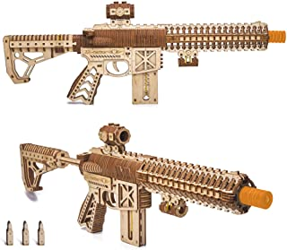 Wood Trick Assault Gun AR-T Model Kit for Adults and Teens to Build - with Telescoping Butt, Fuse, Sight and Clip for 12 R...