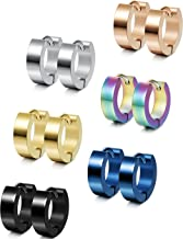 Jstyle Stainless Steel Unique Small Hoop Earrings for Men Huggie Earrings 6 Pairs