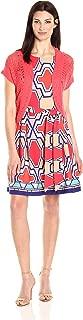 Women's Jacket Printed Prada Dress with Coral Knit Shrug