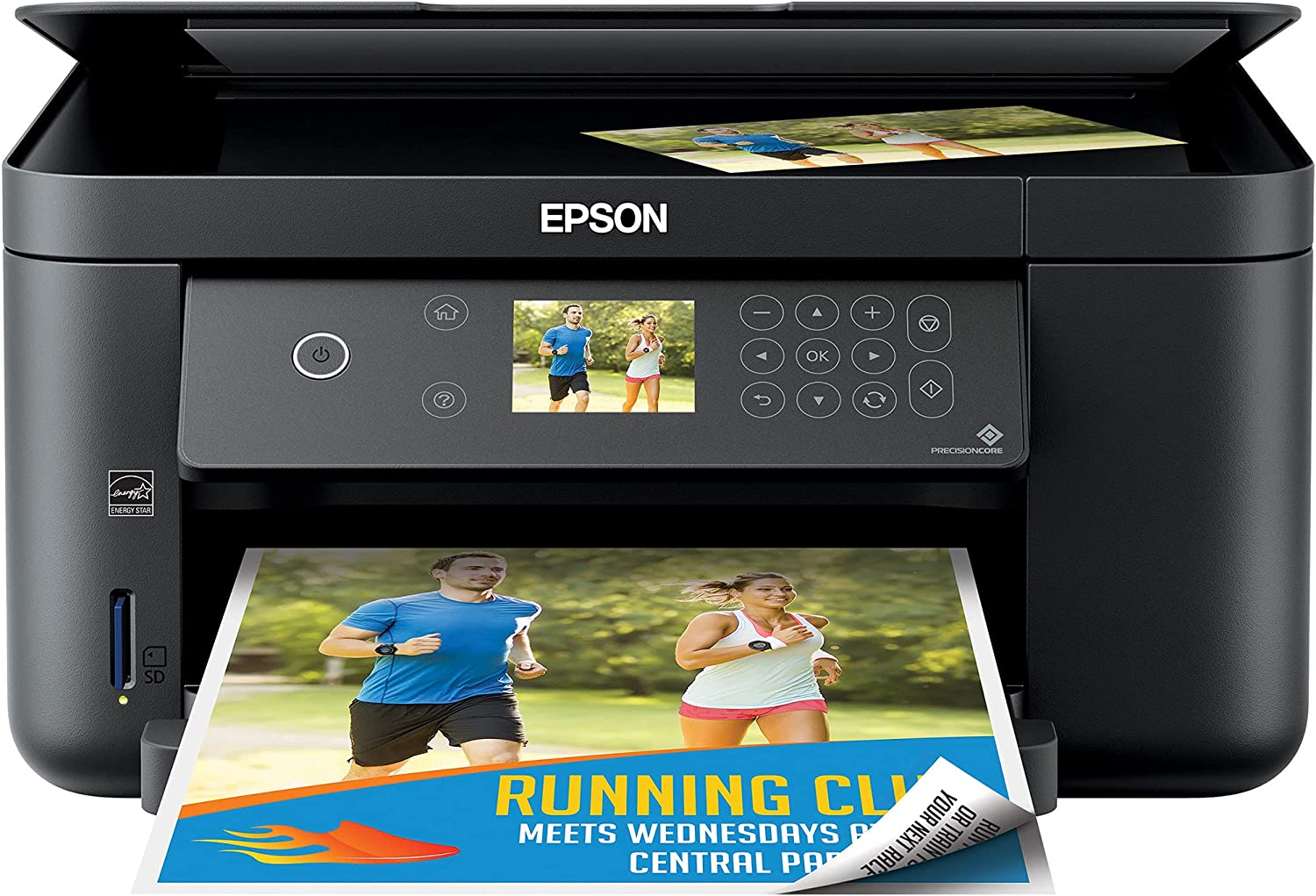 Epson Expression Home XP 5000 Series Wireless All-in-One Color Inkjet Printer, Black - Print Scan Copy - 14 ppm, 4800 x 1200 dpi, Auto 2-Sided Borderless Print, 150-Sheet, Card Slot