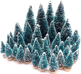 Small Flocked Artificial Christmas Tree Snow Globe Décor Cute Unique Mini Frosted Bottle Brush Trees Pretty Holiday Party Decorations Assorted Size Up to 4-7/8''H Green& BluewithWhiteWooden Base 36PCS
