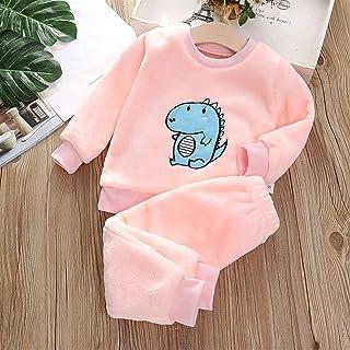 CLNAONG Pijamas para niños, Franela Home Service Traje Desgaste Infantil Niños Pijamas Chicos y niñas Grueso Coral Fleece Traje de Dos Piezas (Color : Pink, Size : 51in)