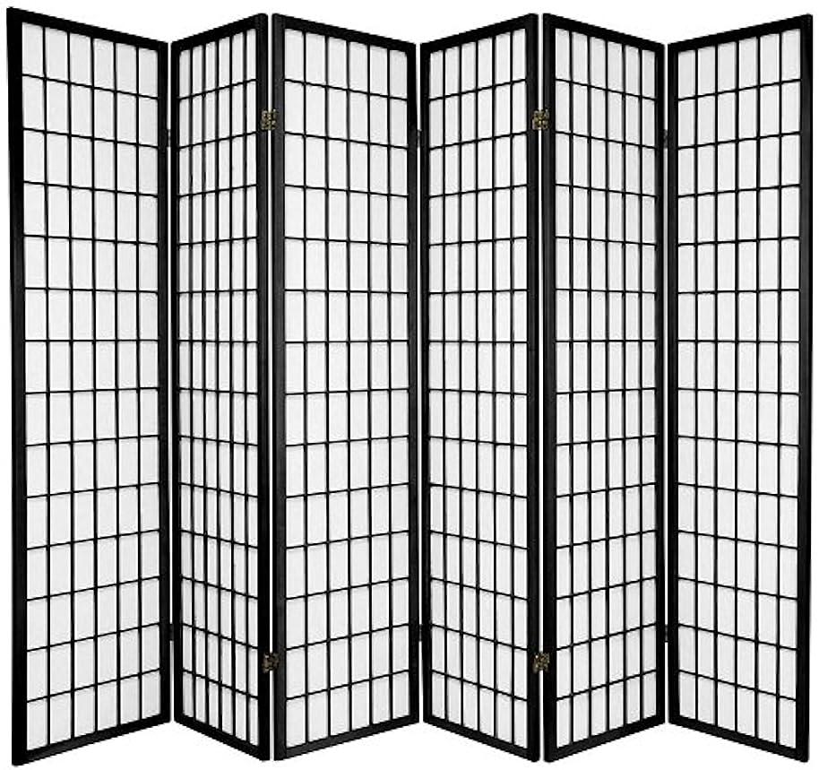 Legacy Decor 6-panel Room Screen Panel Divider Black Finish