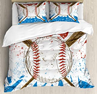 Lunarable Sports Duvet Cover Set, Hand Drawn Baseball Bats and Ball on Grunge Colored Background, Decorative 3 Piece Bedding Set with 2 Pillow Shams, Queen Size, Brown Blue
