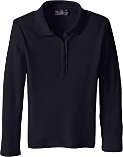 Nautica Kids Long Sleeve Polo with Ruffle Placket (Big Kids)