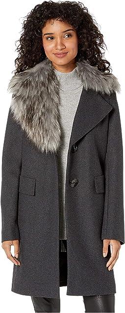 Asymmetrical Faux Fur Walker Coat