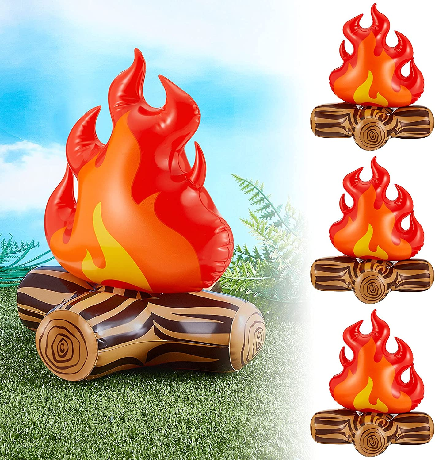 Sumind 4 Pieces of 12 Inch Inflatable Campfire Props, Camping Party Bonfire Party Scene Decoration, Indoor and Outdoor Camping Game Props for Boys and Girls Bonfire Firewood Toys