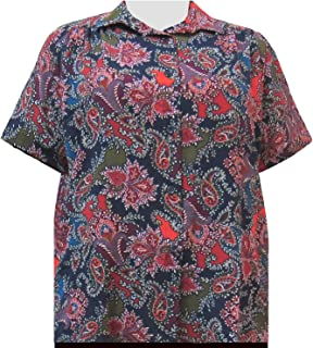45b3d7a74af A Personal Touch Women s Plus Size Short Sleeve Button-Front Blouse with  Shirring