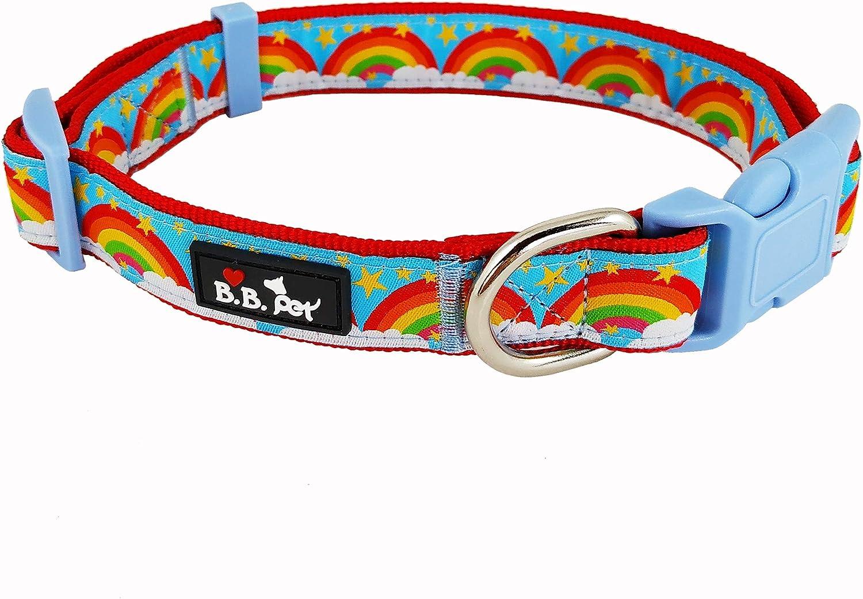 Bestbuddy Pet Fashion Designer Rainbows and Stars Durable Nylon Ribbon Dog Collar Pet Collar Trendy Comfortable Adjustable Dog Collar with Buckle BBP039