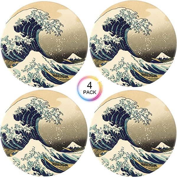 Coasters For Drinks Ailsan Leakproof Sea Coasters Absorbent Coasters With Cork Base Prevent Furniture From Dirty And Scratched Coffee Tea Office Beer Bar Coasters Set Of 4