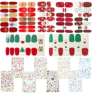 15 Sheets Christmas Nail Decals, 7 Sheets Nail Polish Stickers and 8 Sheets Patterns Stickers, Full Wraps Strips and Self-adhesive Tips Set for DIY Nail Art Stencil (1000Pcs)