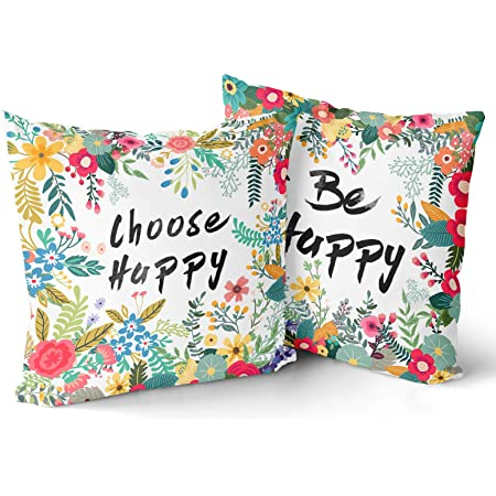 Aremazing Cotton Linen Home Farmhouse Decor Pillowcase Throw Pillow Cushion Cover 18 X 18 Inches Inspirational Letters With Beautiful Flowers Leaves Be Happy Kitchen Dining