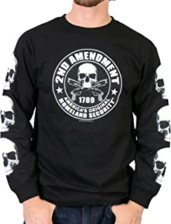 Hot Leathers Men's 2nd Amendment Long Sleeve Shirt (Black, XX-Large)
