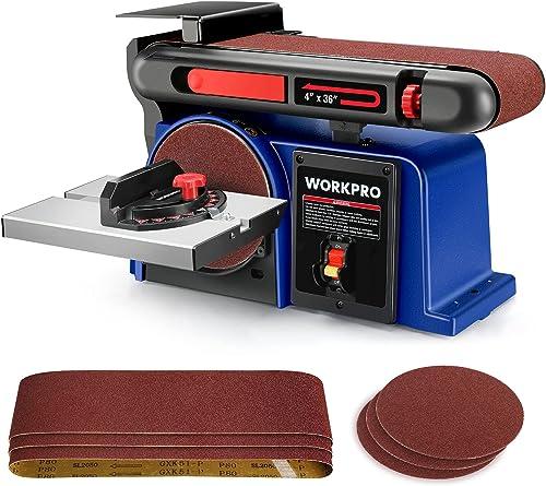 popular WORKPRO Belt Disc Sander, 4 in. sale x 36 in. Belt & 6 in. Disc Sander with popular 6pcs Sandpapers, Cast Iron Base for Sanding Woodworking, DIY Decoration sale