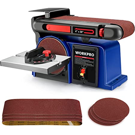 WORKPRO Belt Disc Sander, 4 in. x 36 in. Belt & 6 in. Disc Sander with 6pcs Sandpapers, Cast Iron Base for Sanding Woodworking, DIY Decoration