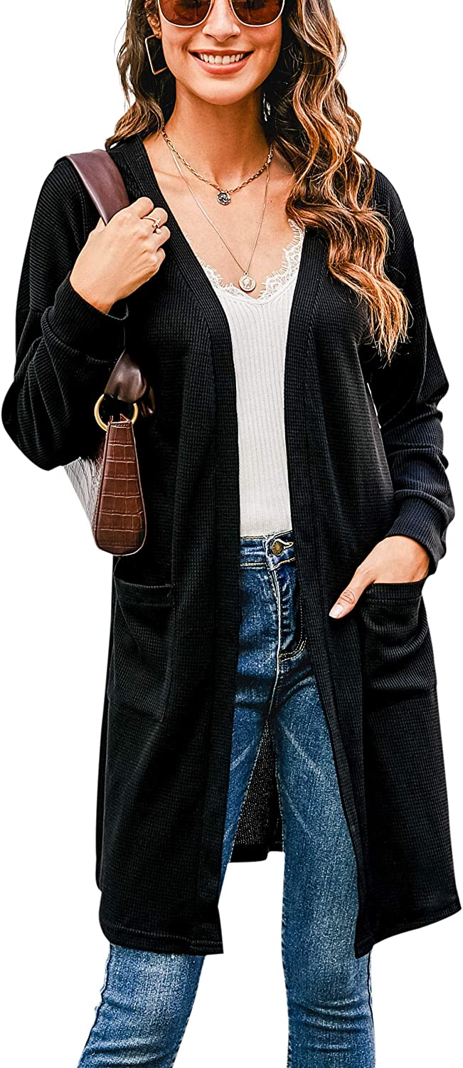 Hibluco Women's Long Sleeve Solid Color Button Down Knit Cardigans Outwear with Pockets