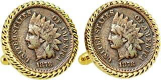 Civil War Indian Head Penny Rope Bezel Coin Cuff Links | United States Coins | Men's Cufflinks | Over 100 Years Old