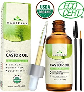 Organic Castor Oil - USDA Certified Organic 100% Pure, Cold-Pressed, Extra-Virgin, Hexane-Free. Best Carrier Oil For Eyelashes, Hair, Eyebrows & Skin - Repair Nails and Boost Lash & Brow Growth