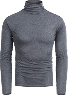 RAGEMALL Mens Basic Turtleneck Thermal Long Sleeve T-Shirt Sweatshirt Cozy Pullover Tops