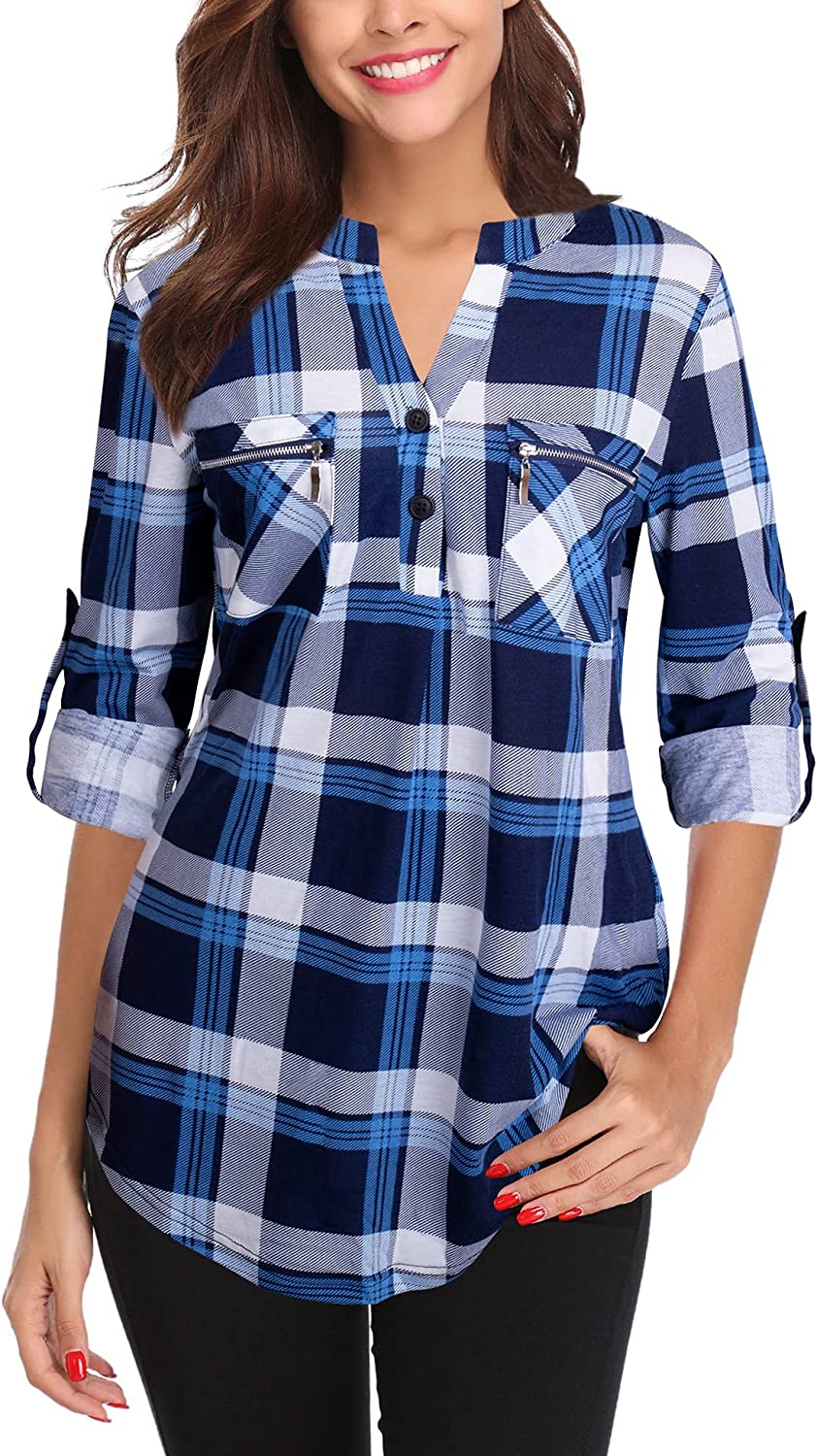 Siddhe Womens Tunic Tops V-Neck Button 3/4 Roll Sleeve Blouses Shirt with Pocket