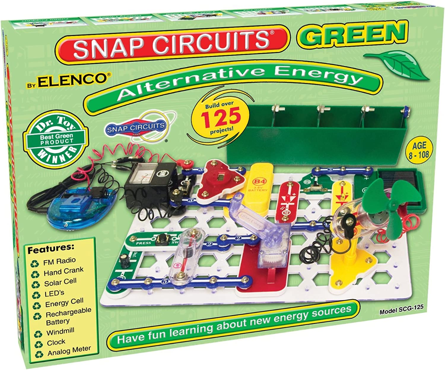 Snap Circuits Alternative Energy Green Electronics Exploration in Alternative Energy Kit   Over 125 STEM Projects   4color Project Manual   40+ Snap Modules   Unlimited Fun