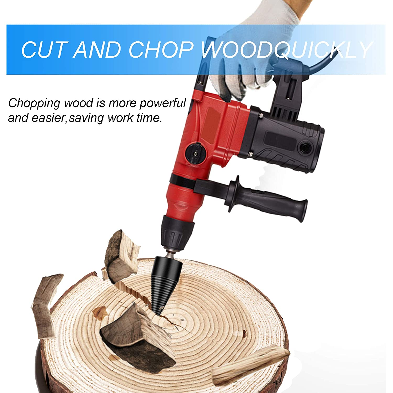 Splitting Wood Cone Drill Bit 42mm Heavy Duty Drill Screw Cone Driver for Household Electric Removable Firewood Log Splitter Drill Bit
