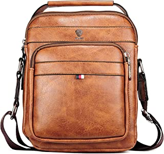 Elios Tan Brown PU Leather Large Capacity Multi-Utility Crossbody Travel Work Wear Messenger Bag For Men