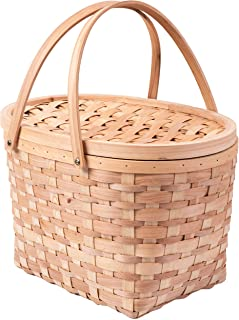 Vintiquewise QI003387 Extra Large Wood-chip Picnic Basket with Cover and Drop Down Handles