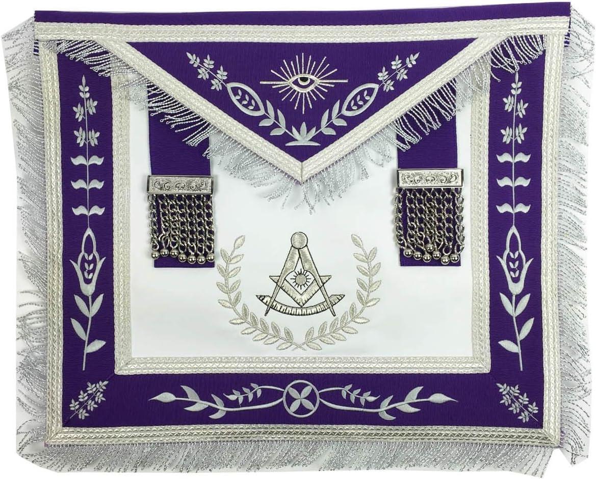 New product!! Unique Regalia Masonic Grand Lodge Past Silver NEW before selling Apron Mach Master