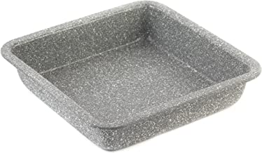 Salter BW02780G Marble Collection Carbon Steel Square Baking Pan | Ideal for Brownies | 23 cm | Grey, Set of 1