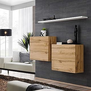 ASM SWITCH I Aparador con estante de pared 130 cm de ancho dos gabinetes cuadrados PUSH-CLICK puertas Wotan roble blanco ...