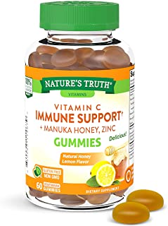 Vitamin C Immune Support Gummies | 60 count | with Zinc and Manuka Honey | Vegetarian, Non GMO and Gluten Free Supplement ...