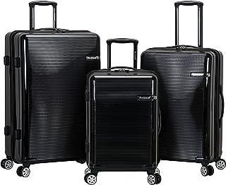 Rockland Horizon Hardside Expandable Spinner Wheel Luggage Set, Black, 3-Piece (20/24/28)