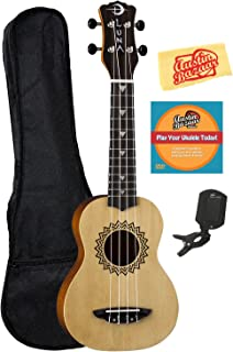 Best Luna Vintage Spruce Soprano Ukulele Bundle with Gig Bag, Tuner, Austin Bazaar Instructional DVD, and Polishing Cloth Review