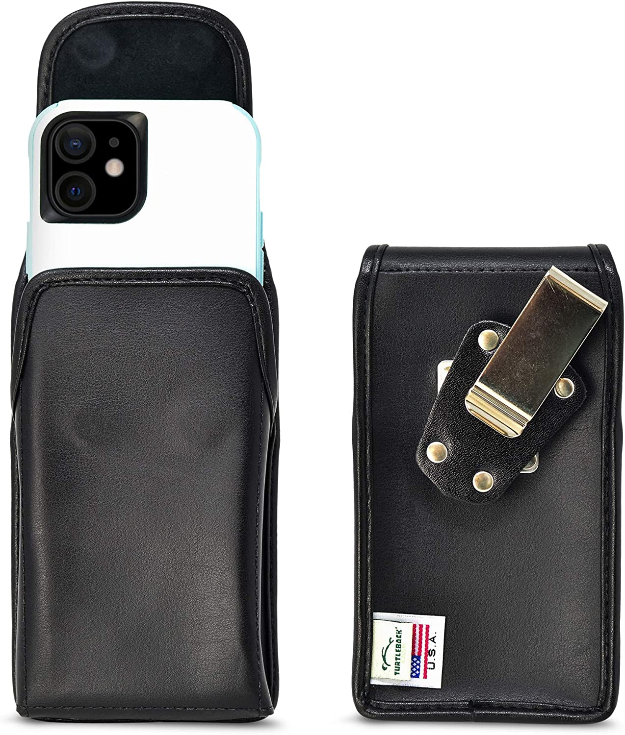 Turtleback Belt Case Designed for iPhone 12 13 & Pro Fits with Shockproof OB Commuter, Vertical Holster Black Leather Pouch with Heavy Duty Rotating Belt Clip, Made in USA