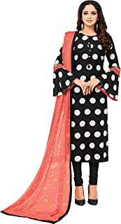 Rajnandini Women's Black chanderi silk Printed Semi-Stitched Salwar Suit Material With Printed Dupatta (Free Size)