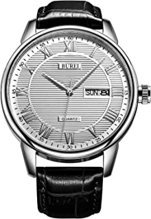 BUREI Men's Classic Quartz Wristwatch with Protective Mineral Glass Day Date Calendar Big Roman Numerals Texture Design and Leather Strap